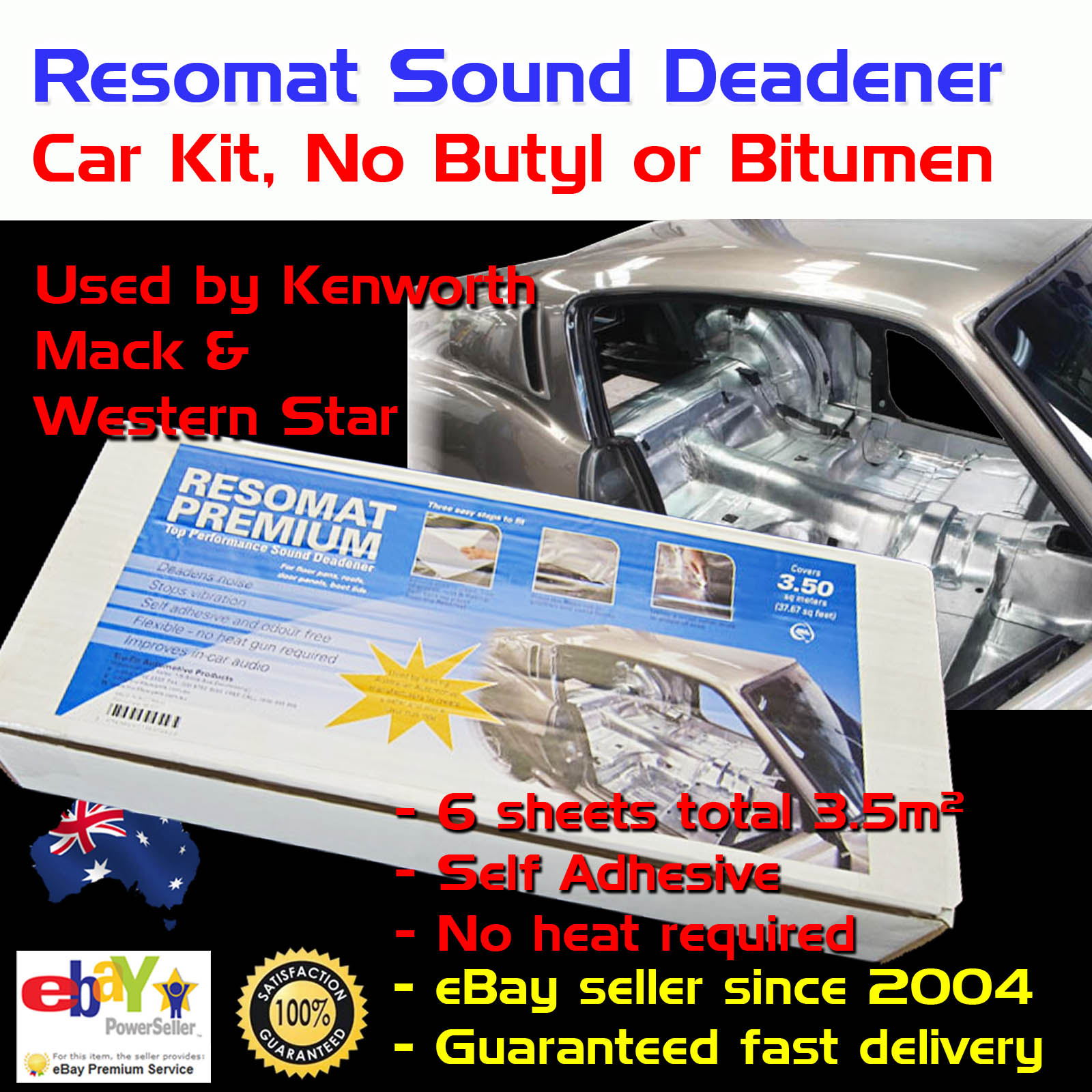 Car Sound Deadener Kit Pack Heat Proof Adhesive Silver Foil No Butyl ...